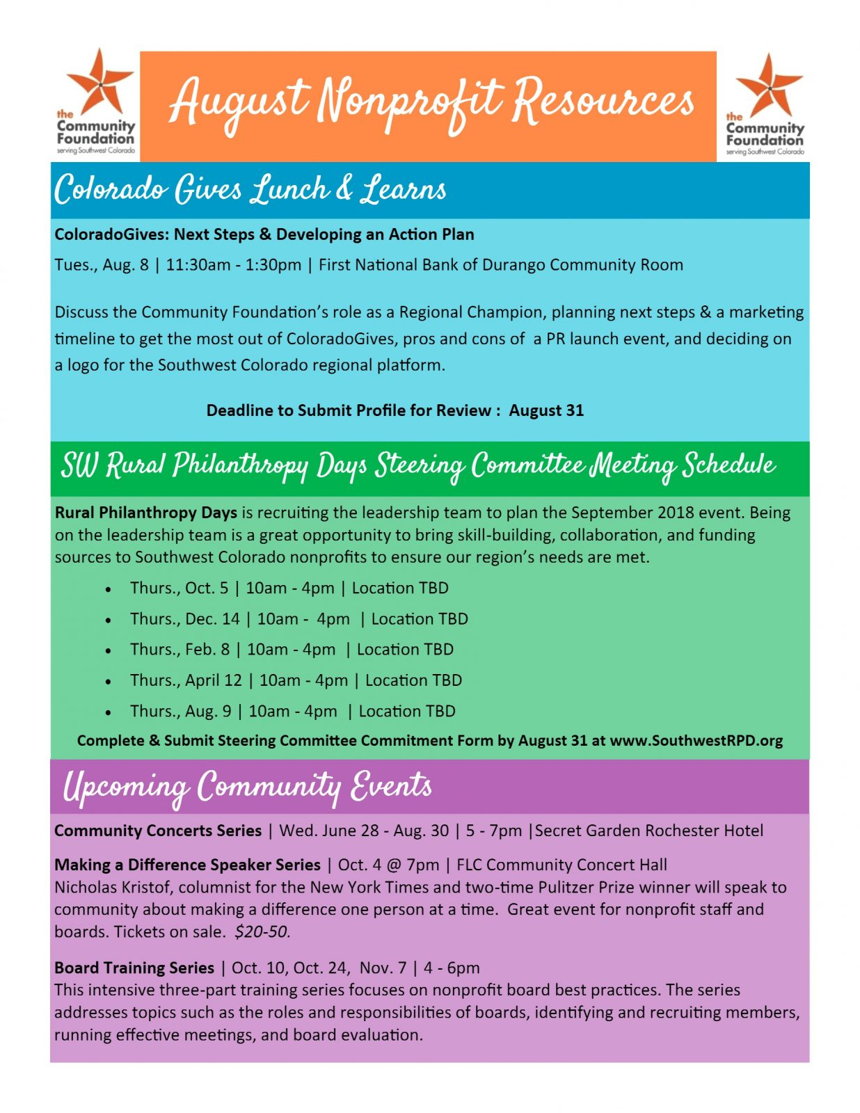 Archives For August 2017 Community Foundation Serving Sw Co
